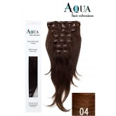 Aqua Clip In Extensions #4 Medium Brown 18""