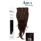 Aqua Clip In Extensions #1B Soft Black 18""