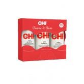 Chi Cleanse & Shine 3pk Sh/cond/silk 6oz