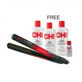 "CHI Lava Flat Iron 1"" + Infra Shamp Treatment Silk Infusion 12oz 3pk"