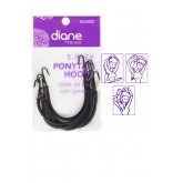 Fromm Black Ponytail Elastics With Hooks 5pk D6800
