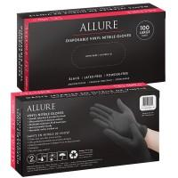 Allure Vinyl Nitrile Gloves Black 100pk - Large