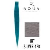 """Aqua Tape Extensions Silver 4pk 18"""""""