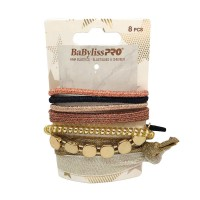 Babyliss PRO Shades Of Gold Assorted Hair Elastics 8pk