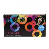 Framar Crystal Clear Vinyl Gloves 100pk