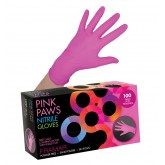 Framar Pink Paws Nitrile Gloves 100pk - Large