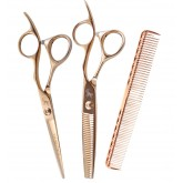 Tribal Rose Gold Shear Thinner Comb Combo 6""